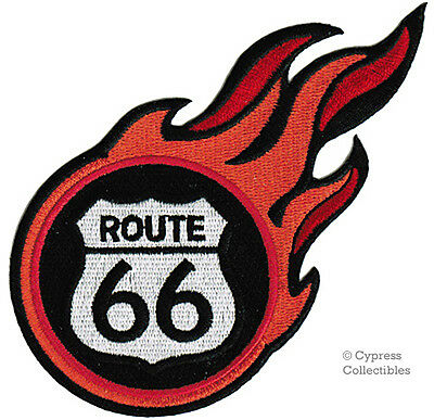 ROUTE 66 iron-on FLAMES BIKER PATCH new ROAD SIGN new EMBROIDERED ROAD SIGN