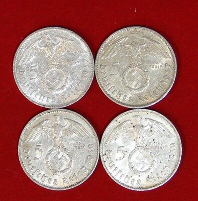 Four (4) Coin Nazi 5 Reichsmark Silver Set 2x1937-E and 2x 1939-B Polished