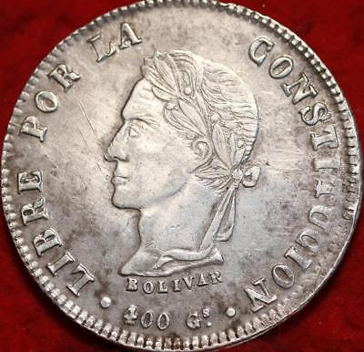 1861 Bolivia 8 Soles Silver Foreign Coin