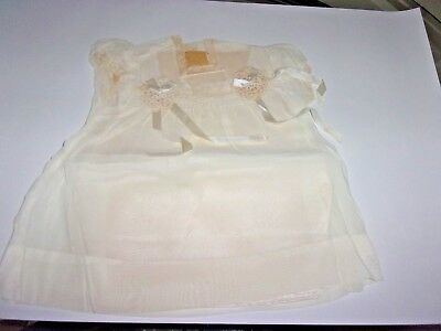 VINTAGE BEAUTIFUL Sheer Baby Infant Dress Ivory w/Slip