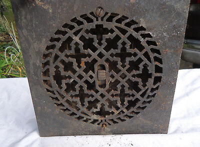 Antique Cast Iron Square Repeating Cross Design Floor Grate Heat Register