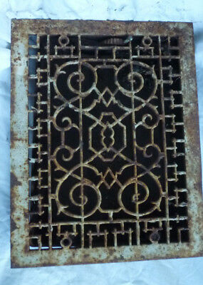 Antique Cast Iron Art Deco Scroll Vine Design Floor Grate Heat Register