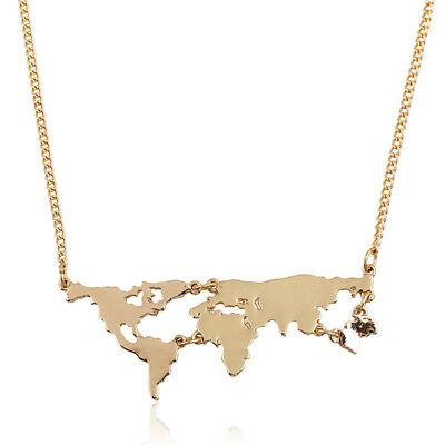 Gothic European Women World Map Pendant Chain Collar Jewelry Statement Necklace