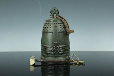 Japanese Bronze Gong Temple Buddhist Hanging Bell Bonsho Kane W/striker Jan169
