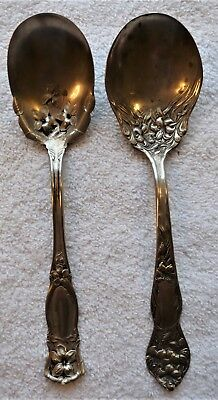 2 Lovely Art Nouveau Floral Sugar Shell Spoons, Stafford, Rogers,ornate, Nice