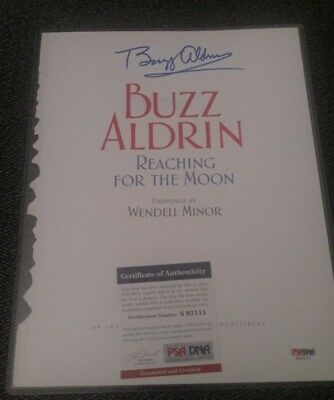 Buzz Aldrin - Auto Signed - Reaching For The Moon Book Page - Psa Dna Coa -