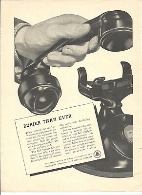 1940 BELL SYSTEM Telephone print page Ad BUSIER THAN EVER National Defense