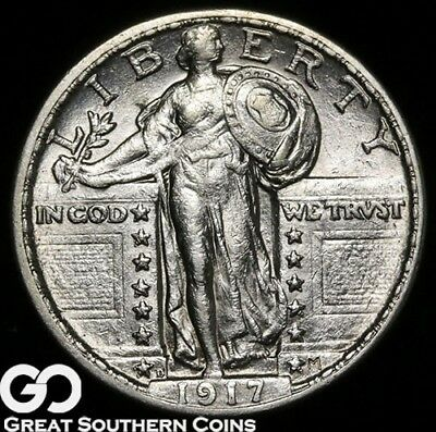 1917-D Standing Liberty Quarter, Type 2, Almost FH, Choice BU++ Better Date!