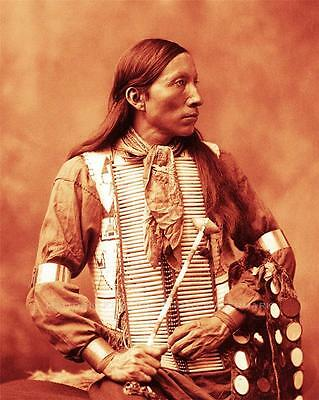 Ogallala Sioux Bone Necklace Old Photo Native American Indian 1899  #21001