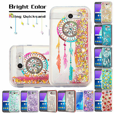 For Samsung J7 2017 Bling Hybrid Liquid Glitter Slim Rubber Protector Case Cover