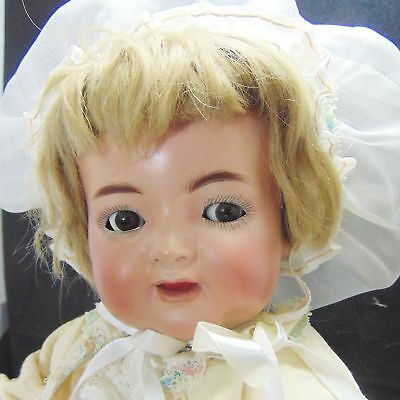 Antique Mechanical German Bisque Porcelain Simon Halbig Flirty Doll Fab Clothes