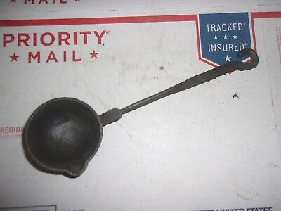 Old Vintage Cast Iron Lead / Metal Melting Mold Ladle Tool 10''1/2 long
