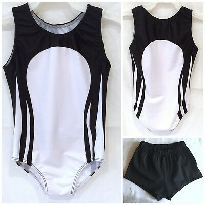 *Champ* Boys/Mens Gymnastics leotard & Shorts Black & White