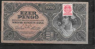 HUNGARY #118 1945 1000 PENGO OLD very GOOD CIRCULATED BANKNOTE PAPER MONEY  NOTE