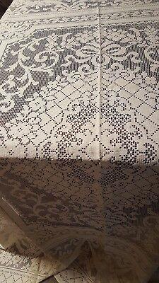 Tablecloth Spectacular Cream Colored Filet With Flowers Bars Sworls Incomparable