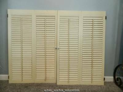 Vtg painted white shabby wood cottage chic double panel shutters farmhouse