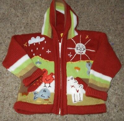 Children's Zip Front Hooded Sweater with Farm/Animal  Design Size 4 NWT