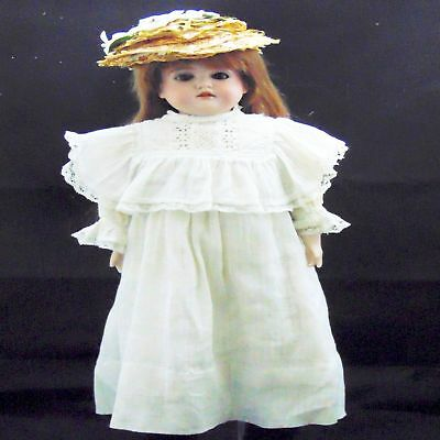 "Antique German Bisque Porcelain Doll French Market Am Kid Leather 20"" Fab Cloth"