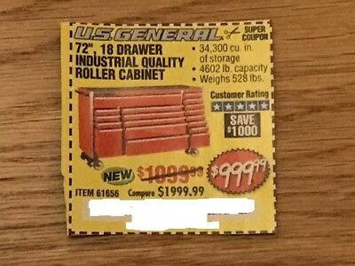 "Harbor Freight Super Coupon for a 72"", 18 Drawer Roller Cabinet ~ SAVE $1,000"