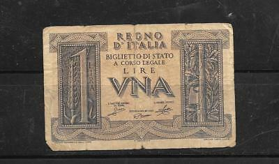 Italy #26 1939 Vg Circ Vintage Old Wwii Lire  Banknote Paper Money Currency Note
