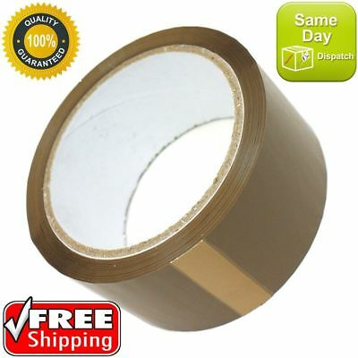 6 Rolls Of Strong Brown buff parcel Tape Packing Packaging 66m 48m 50mm CHEAP