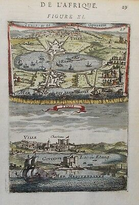 Early copper engraving of Tunis by Alain Mallet circa 1683
