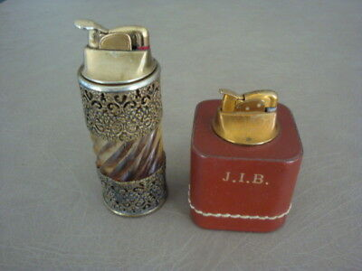 2 Vintage Evans Art Deco TABLE LIGHTERS Tall Brass & Glass & Leather Wrapped