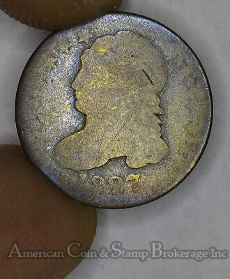 10c Cent Dime 1827 AG/G Capped Bust 10 Cents Silver