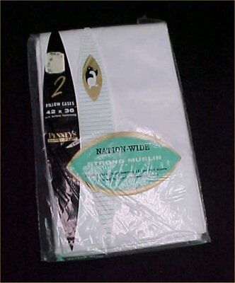 Vintage Antique Pillowcase SET New in Package All Cotton Nation Wide White