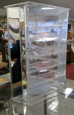 Acrylic 3 sided Rotating Display case w/key & Mirrors  18 Shelves total