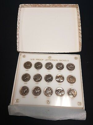 1950-1964 Gem Proof Set of 15 Jefferson Nickels in Capitol Plastic Holder