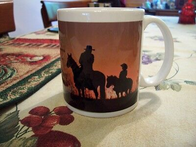 Beautiful Leanin Tree Cowboy And His Son W/ Verse Coffee Mug New !