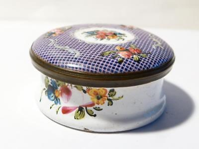 18thC Georgian Bilston Battersea Enamel Trinket Pill Box FLOWERS #T507A
