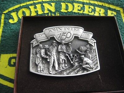 John Deere Belt Buckle 150Th Anniversary 1987  Silver Plated New In Box #31