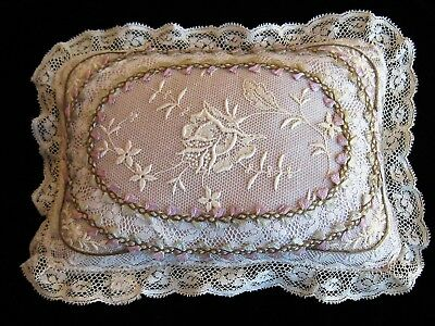 c1910 SUPERB NORMANDY LACE SILK ROCOCO&GOLD METAL LITTLE BOUDIOR PILLOW~ExCond