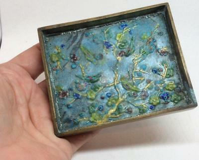 Antique vtg chinese enamel cloisonne pin tray dish cherry tree birds repousse