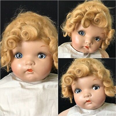 """24"""" Antique Composition Head Baby W/googly Eyes & Cloth Body, Mohair Wig"""