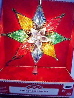 """Light Up Christmas Tree Topper Gold Star Multi Colored Trim 8"""" NEW IN BOX"""