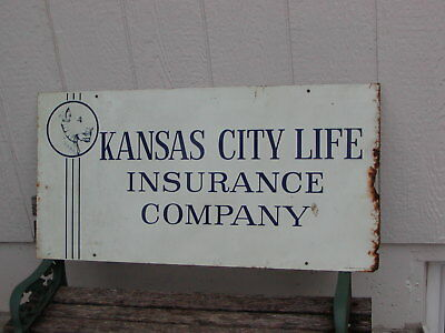 Vtg Antique Double Sided Porcelain Sign Kansas City Life Insurance Company Lion