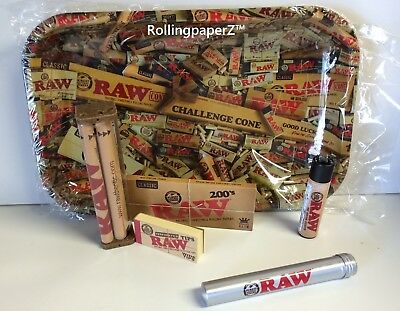 RAW Natural MIX TRAY KING SIZE BUNDLE - PAPERS+TIPS+Storage Tube+Lighter+Roller