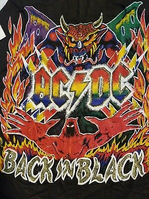 Vintage Rock T Shirt AC DC Back in Black Tour Jersey RARE PRINT 1980 Original