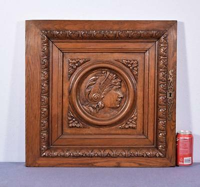 *French Antique Renaissance Architectural Panel Door Solid Oak Wood w/Woman 2