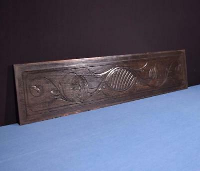 "*44"" French Antique Hand Carved Architectural Panel Solid Oak Wood Trim"