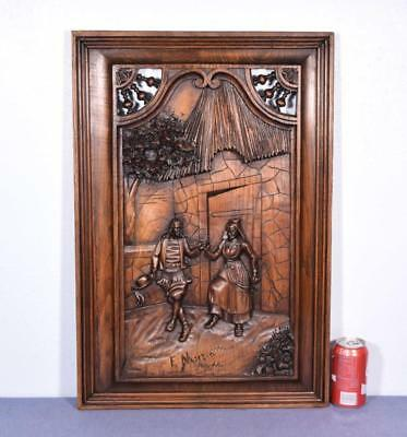 *Signed Antique French Breton Panel Brittany in Solid Chestnut Wood w/Couple 3