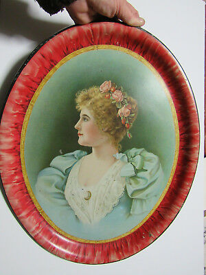 Antique Advertising Tray Blank - No.1 Tin Litho -Lady - Beach- Coshocton- Meek