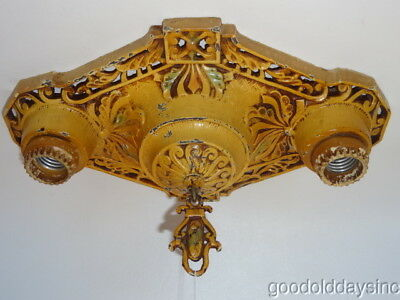 1930's Art Deco Polychrome Ceiling Mounted Light Fixture w Two Light Sockets