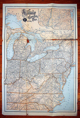 1880's ABC The PATHFINDER RAILWAYS GUIDE MAP folded
