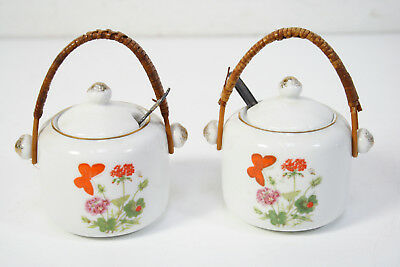 2 Vintage Small Porcelain Teapots With Bamboo Handle * Made In Japan *