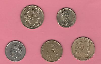 1978 - 1992 Greece 5 coin lot - AU