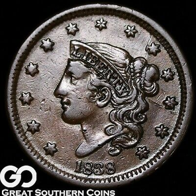 1838 Large Cent, Coronet Head, Choice XF++/AU Early Copper